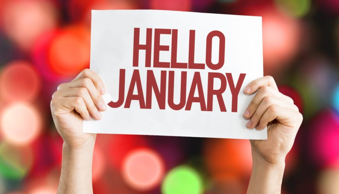 Hello January placard with bokeh background